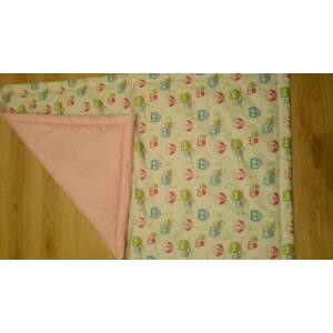 Óvodai bélelt ágynemű- Lány baglyos (Rózsaszín hátlappal)