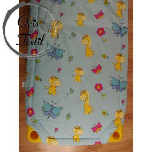Bélelt lepedő - kék zsiráfos - pillangós